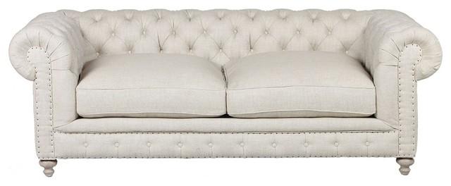 "Warner Linen Chesterfield 90"" Sofa."
