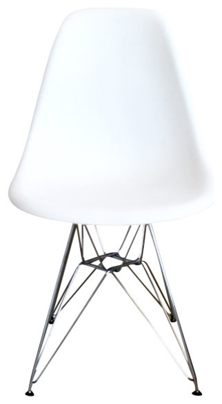 DSR White Mid Century Modern Plastic Dining Shell Chair With Steel Eiffel  Legs Midcentury Outdoor