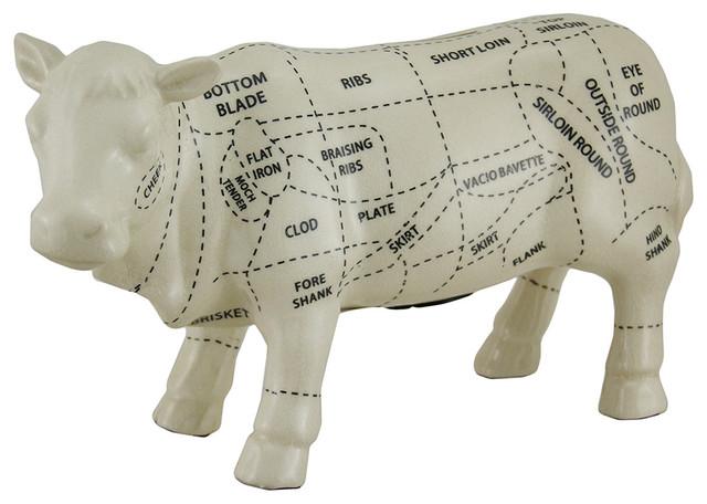 White Ceramic Pig Shaped Coin Bank Butcher Chart Piggy Bank Contemporary Piggy Banks By Zeckos