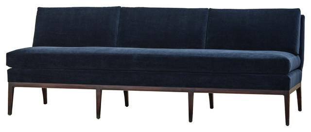Reginald Hollywood Modern Navy Blue Armless Sofa