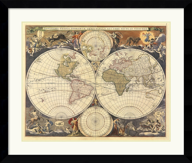 New world map 17th century framed print by ria visscher new world map 17th century framed print by ria visscher gumiabroncs Gallery