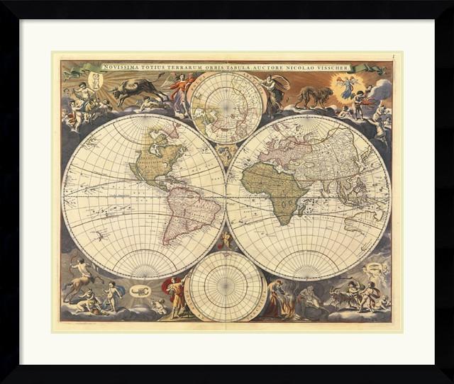 New World Map 17th Century Framed Print By Ria Visscher