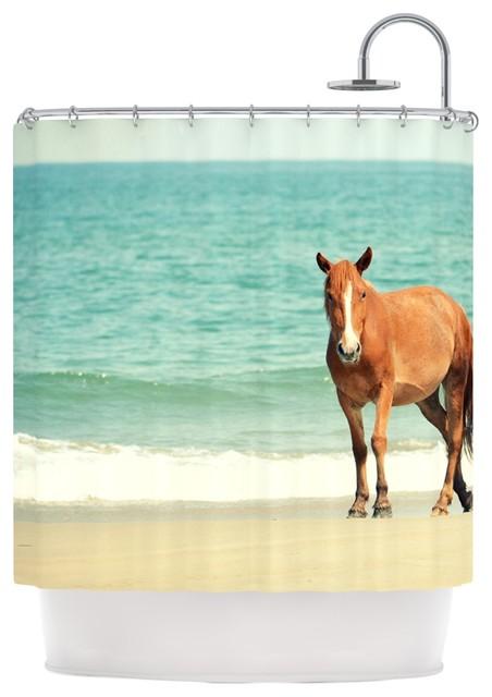 Robin Dickinson Wild Mustang Of Carova Horse Ocean Shower Curtain Contemporary