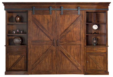 Prescott Barn Door Entertainment Wall Farmhouse