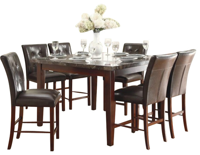 Homelegance Decatur 7-Piece Counter Dining Room Set With Marble Top