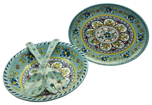 Le Cadeaux Madrid Turquoise 4 Piece Melamine Hostess Serving Set  sc 1 st  Houzz & Le Cadeaux Madrid Turquoise 4 Piece Melamine Hostess Serving Set ...