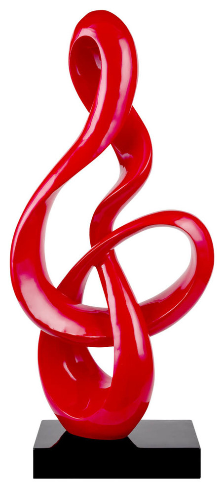 Finesse Decor Abstract Fire Sculpture Red