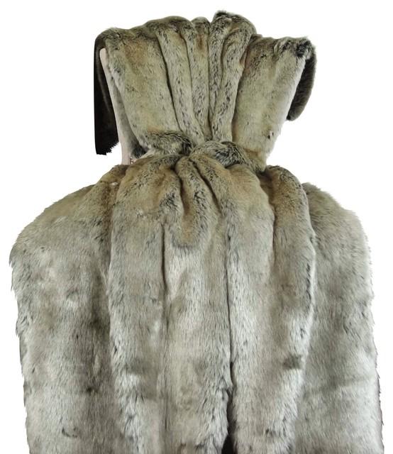 Thomas Collection Faux Fur Blanket Bedspread Comforter 16442 58wx60l.