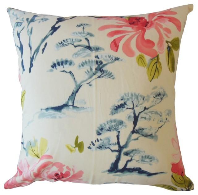 Dacey Floral Throw Throw Pillow Geranium Asian