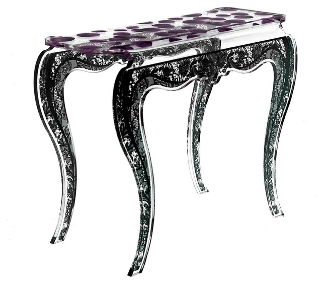 Acrylic Eman Console Table, Purple Eclectic Console Tables