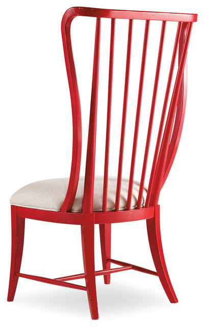 Claude Spindle Side Chair, Ultra True Red And Samantha Cream.