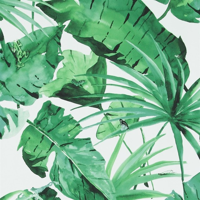 Tropical Natural Leaves Wallpaper, Green/white, Double Roll.