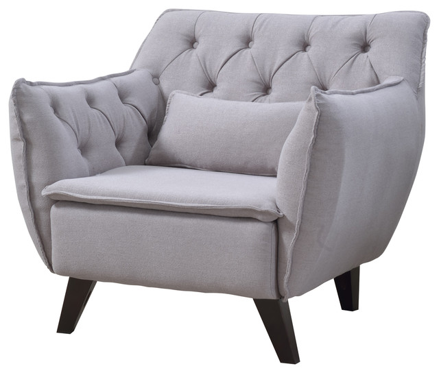 Light Grey Accent Chair: Mid Century Modern Tufted Linen Fabric Accent Chair