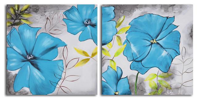Poppy Blues Hand Painted 2 Piece Canvas Set