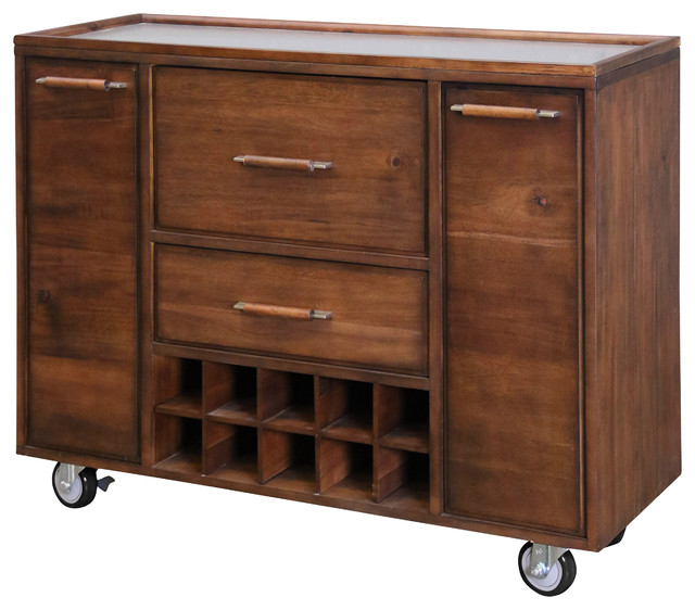 Metal Work Top Mobile Bar Trolley With Black Rubber Wheels, Natural Wood Finish.
