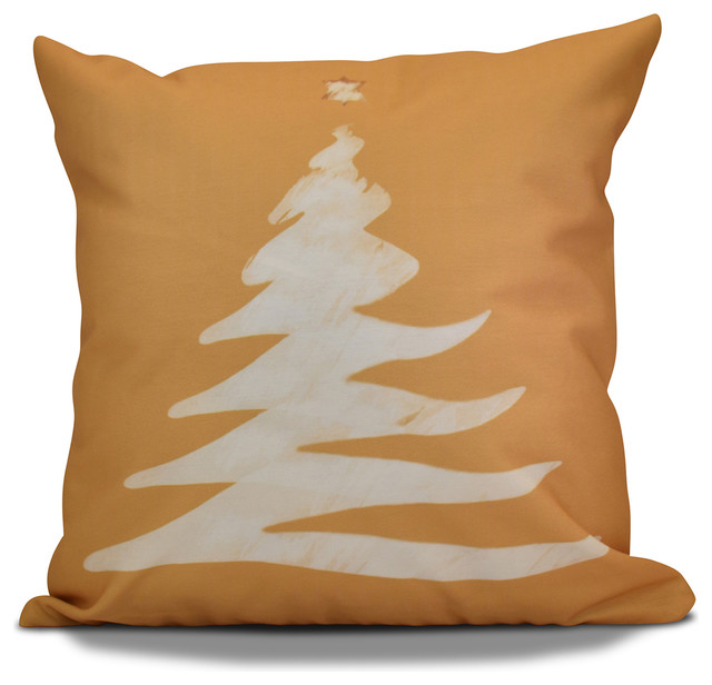 """Decorative Outdoor Holiday Pillow Geometric Print, Gold, 18""""x18"""""""