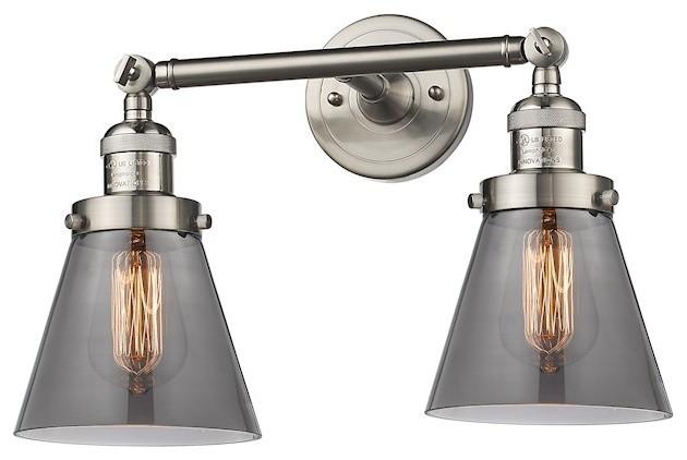 Innovations 2-Light Small Cone Bathroom Fixture, Brushed Satin Nickel