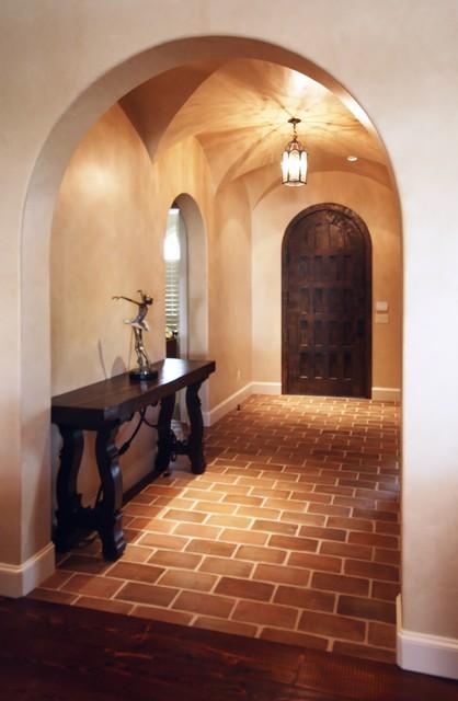 Mid-sized elegant hallway photo in Dallas with yellow walls