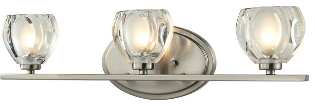 Hale 3 Light Bathroom Vanity Light, Brushed Nickel
