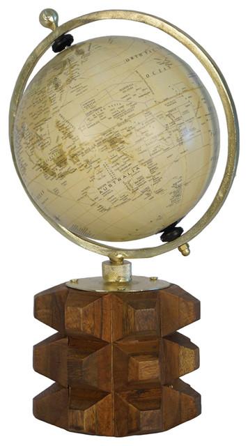 Globe On Solid Carved Wood Base, Multicolor