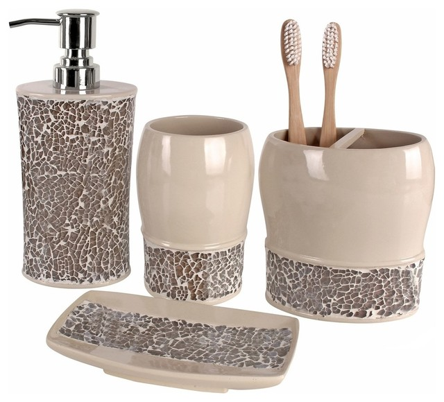 Broccostella 4 piece bath accessory set contemporary for Cream bathroom accessories set