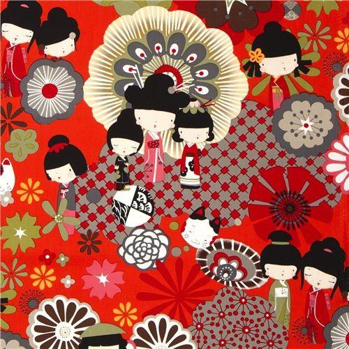 orange red Japanese Kokeshi doll fabric by Alexander Henry
