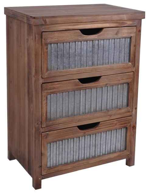 Woody 3-Drawer Galvanized Cabinet - Industrial - Accent Chests And Cabinets - by Cheungs