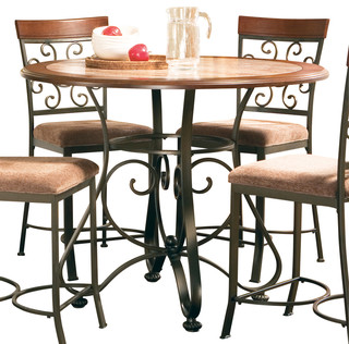 Steve Silver Thompson Round Metal Counter Table with Faux Marble Inlay