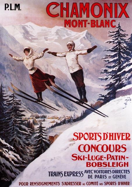 """couple Skiing At Chamonix Mont-Blanc"" Print, 24""x36""."