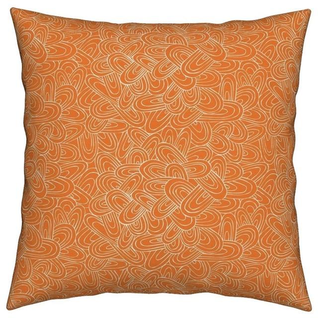 Geometric Geo Arches Orange Lines Modern Throw Pillow Linen Cotton