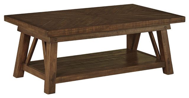 Ashley Don Rectangular Tail Table Rustic Brown Finish