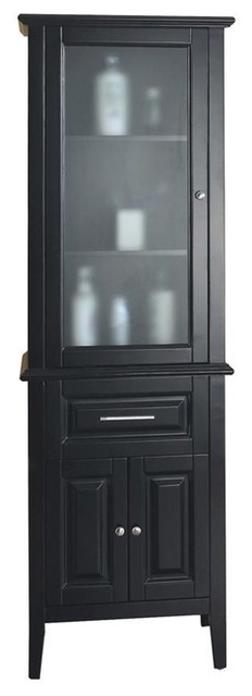 espresso bathroom linen cabinet with a glass door 16168