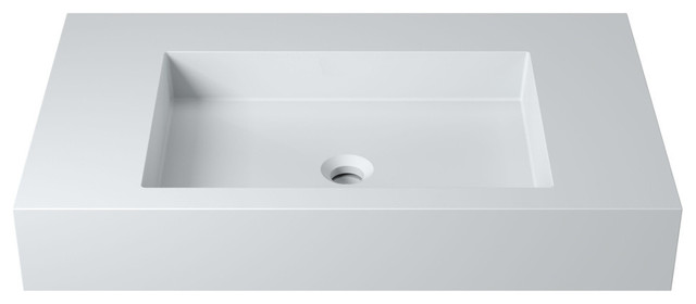 "31"" Polystone Rectangular Wall-Mount Sink, Matte White, No Faucet."
