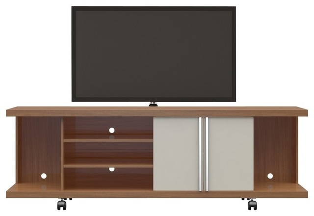 cheap for discount 17527 76526 Mid Century Modern Wooden TV Stand Cabinet, 2-Door, Maple Cream, Off-White