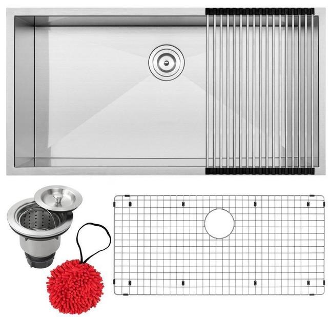 """36"""" Zero Radius Undermount 16-Gauge Stainless Steel Single Basin Kitchen Sink, S"""