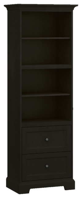 Howard Miller Custom Storage Cabinet 2-Shelves, 2-Drawers, Antique Black.