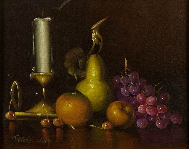 Consigned Modern Still Life With Fruit Oil Painting By