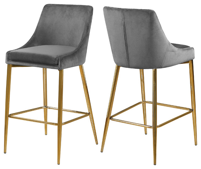 Tremendous Karina Velvet Stool Set Of 2 Gray Gold Base Dailytribune Chair Design For Home Dailytribuneorg