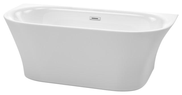 "Cybill 67"" Freestanding White Bathtub, Polished Chrome Drain and Overflow Trim"