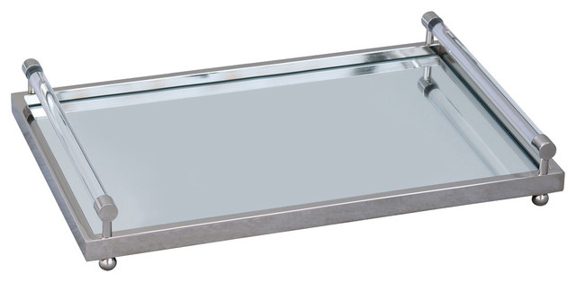 Perfect Renee Modern Crystal Bar Handle Brass Mirror Tray - Modern  BX22