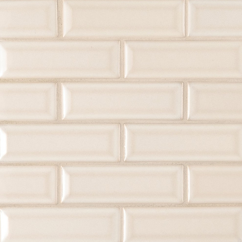 - Antique White Glossy 2x6 Bevel Ceramic Subway Tile - Contemporary