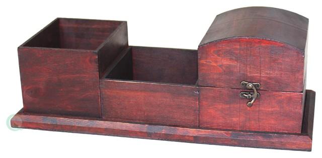 Antique Wood Desk Organizer - Antique Wood Desk Organizer - Traditional - Desk Accessories - By