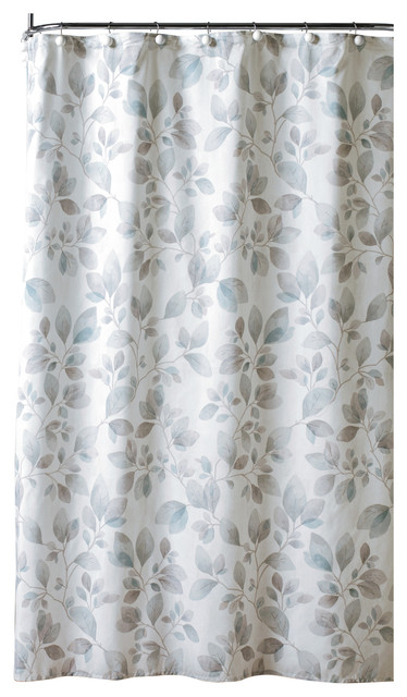 Faithful Leaves Fabric Shower Curtain Contemporary Shower