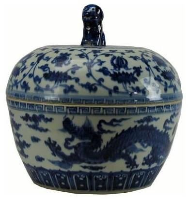 Blue And White Dragon Jar.
