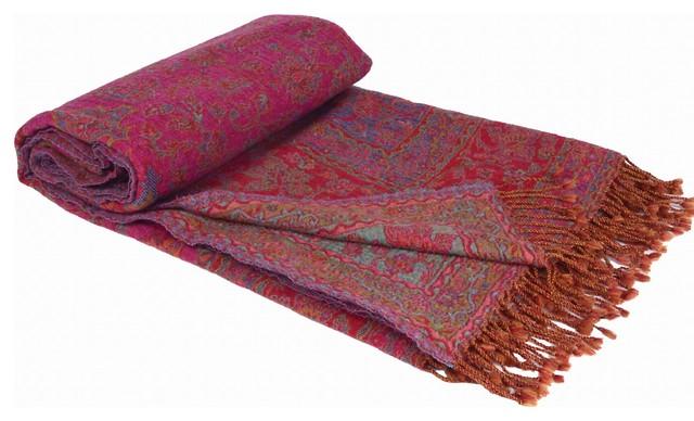 "100% Wool Antique Boil Throw, 50x96"", Fushia."