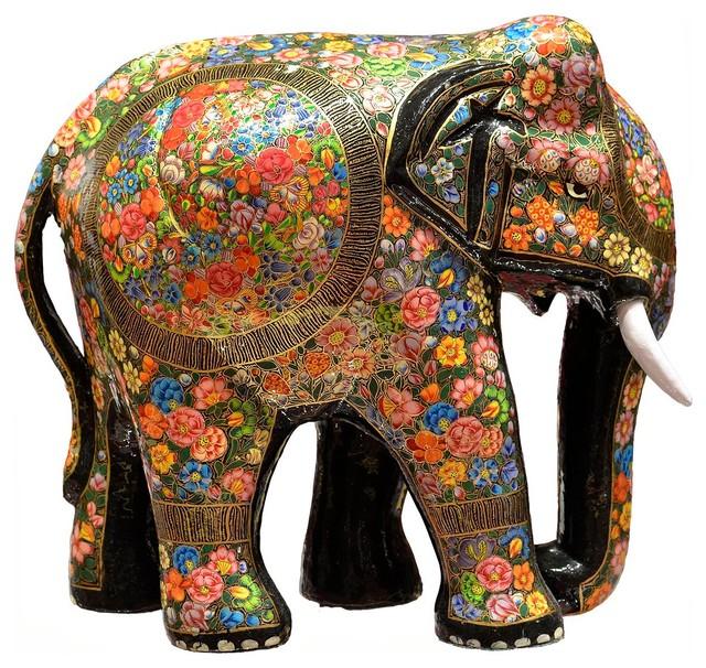 Floral Decorative Papier Mache Elephant Sculpture Hand Crafted 12″H ...