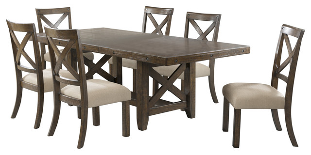 Francis Table With X Back Wooden Side Chairs, 7 Piece Set Farmhouse