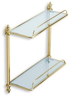 Double Glass Bathroom Shelf, Gold