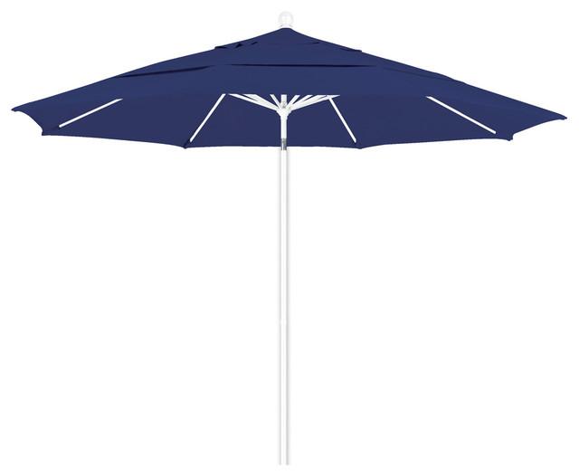 7.5&x27; Lucaya Square Umbrella With Bright Aluminum Pole, Pacific Blue Canopy