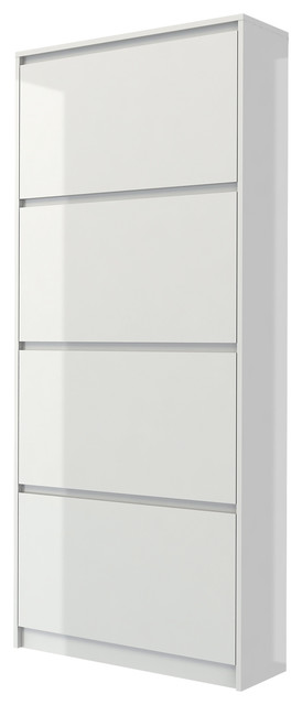 Bright 4 Drawer Shoe Cabinet, White High Gloss